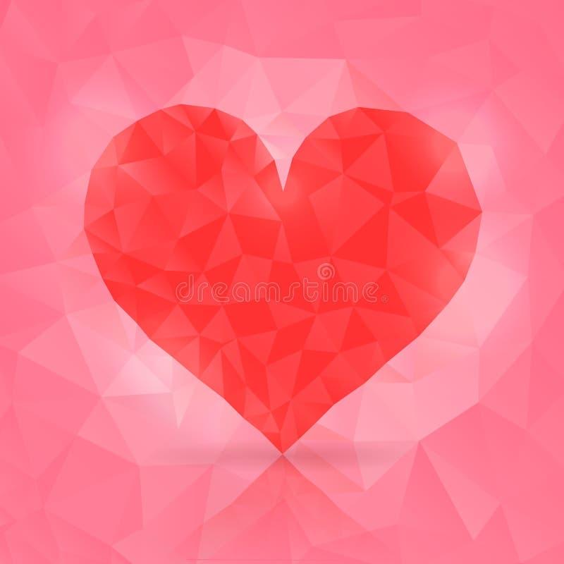 Ejemplo del vector del corazón poligonal stock de ilustración