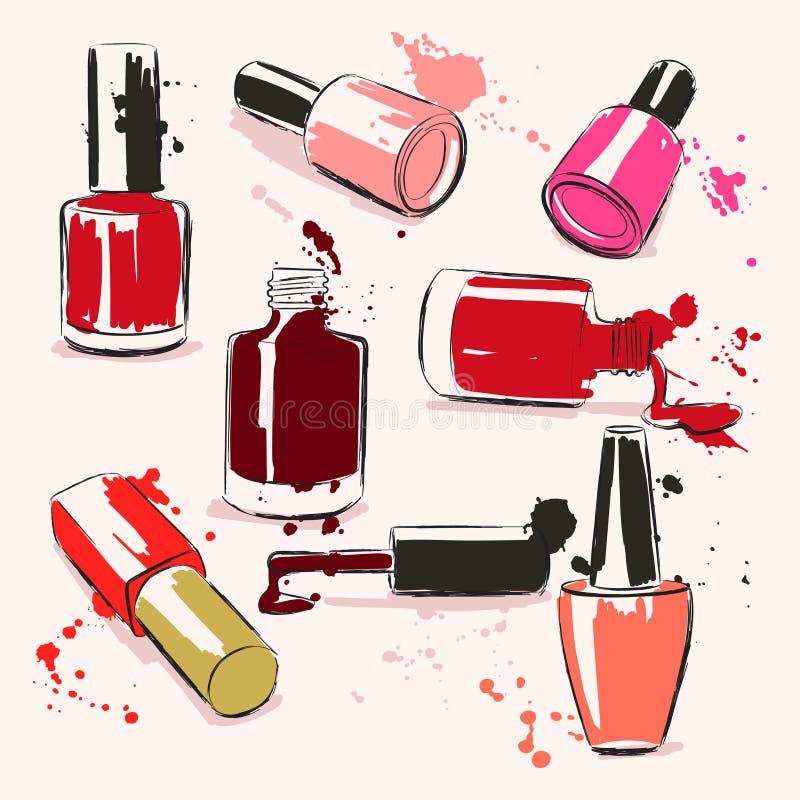 Ejemplo del vector del dibujo de la mano con el esmalte de uñas stock de ilustración