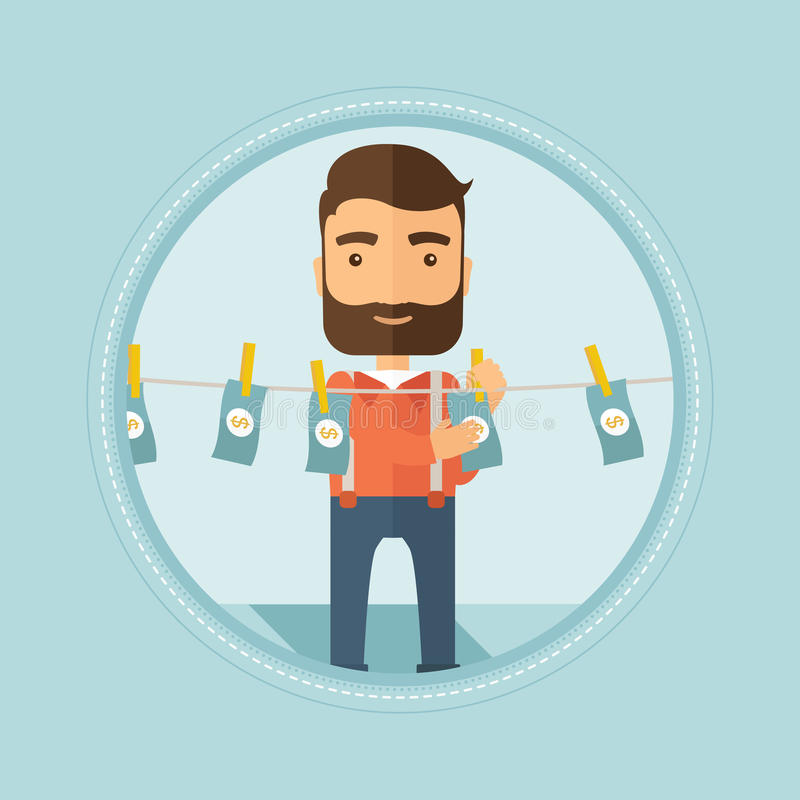 Ejemplo del vector del dinero del hombre de negocios que lava plancha libre illustration