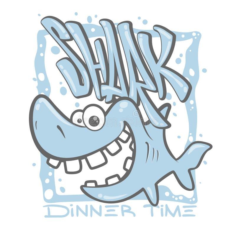 Ejemplo del vector del diseño de la impresión de la camiseta del tiburón de la historieta stock de ilustración