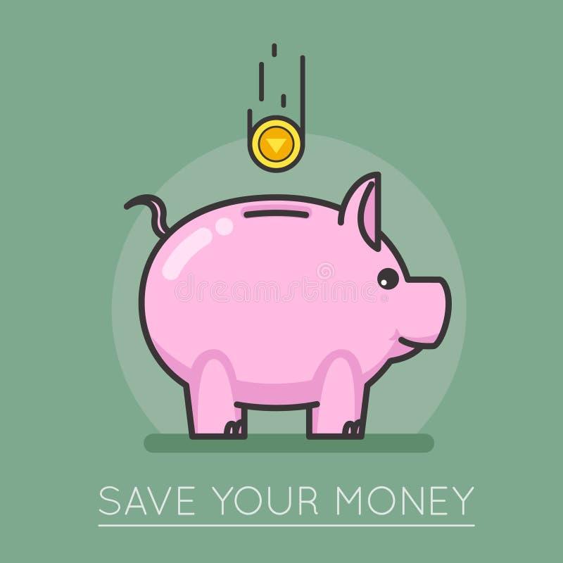 Ejemplo del vector del diseño del lineart del concepto del cerdo de la moneda de la caja de ahorros del dinero ilustración del vector