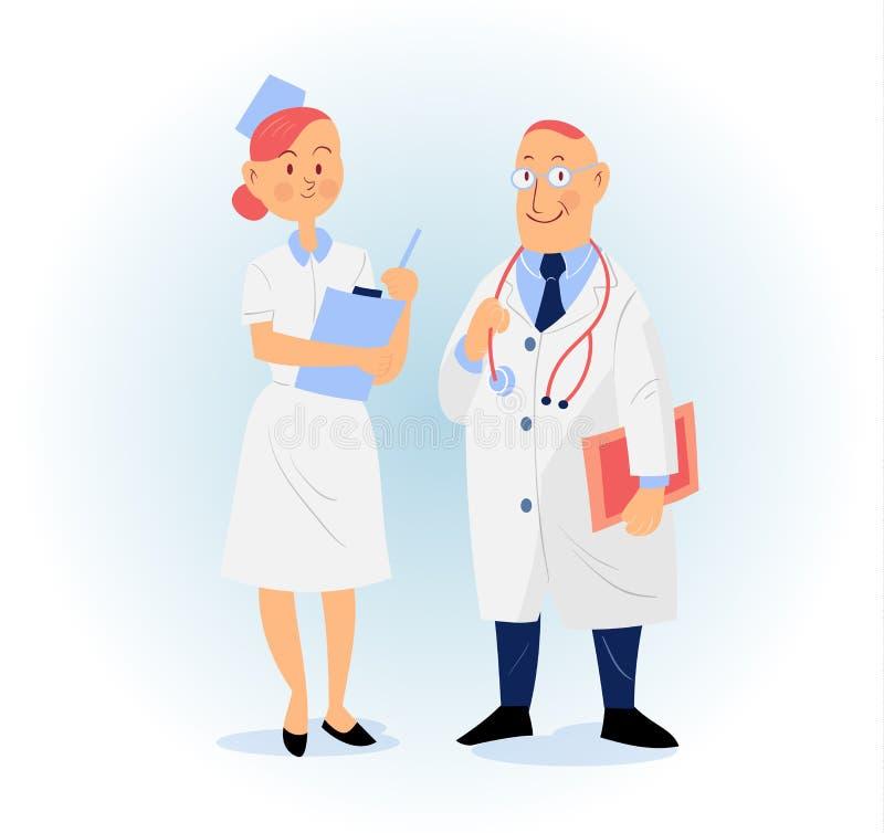 Ejemplo del vector del doctor y de la enfermera libre illustration