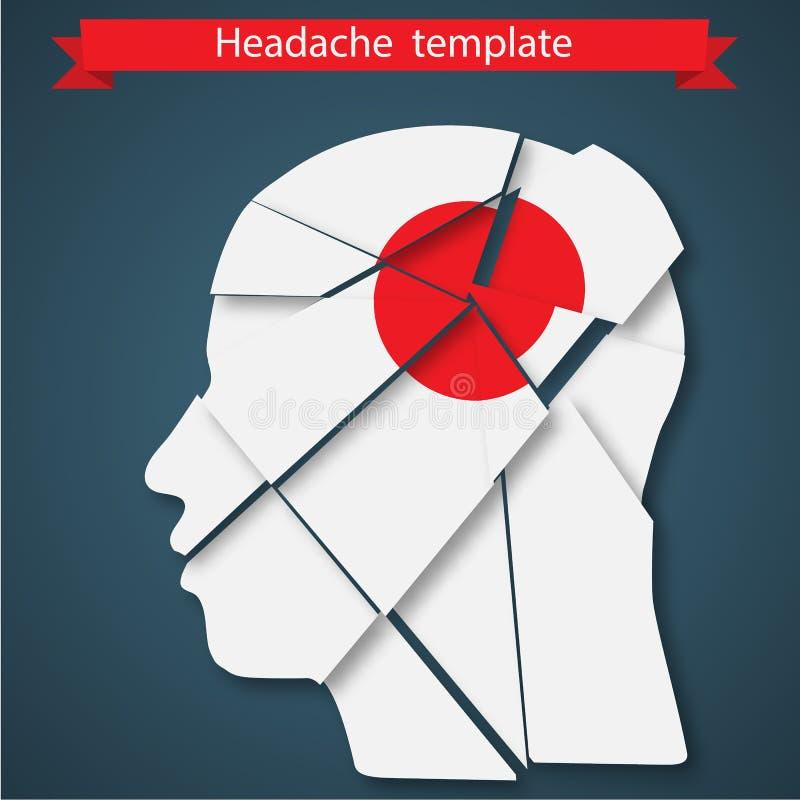 Ejemplo del vector del dolor de cabeza, jaqueca o ilustración del vector