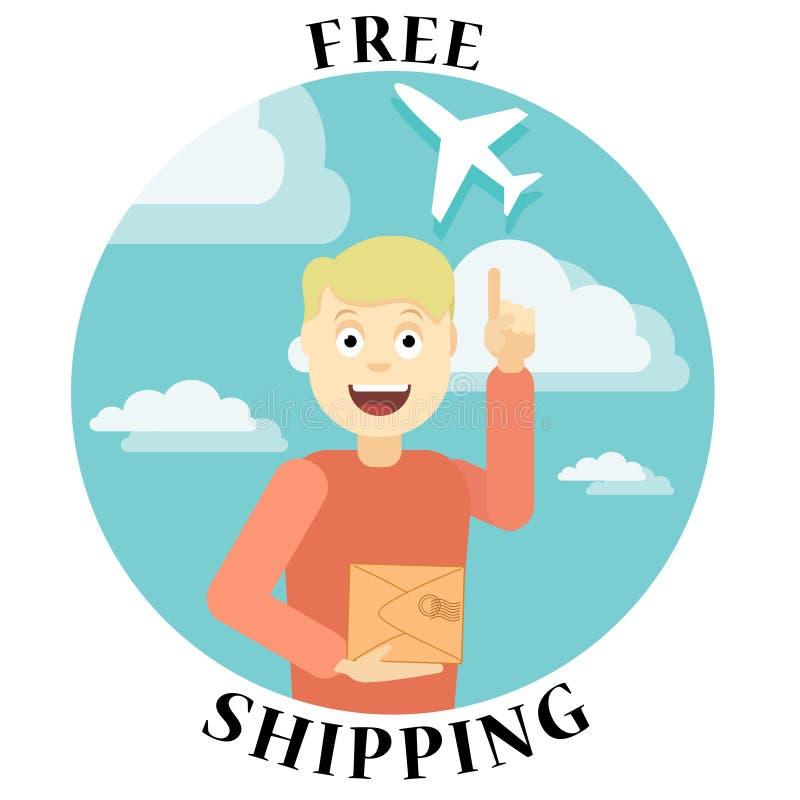 Ejemplo del vector del envío gratis con el hombre y el aeroplano libre illustration