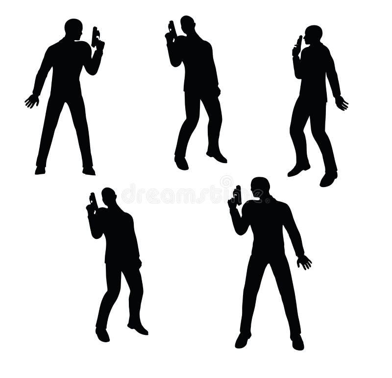 Ejemplo del vector del EPS 10 de la silueta del hombre de negocios del pistolero en negro libre illustration