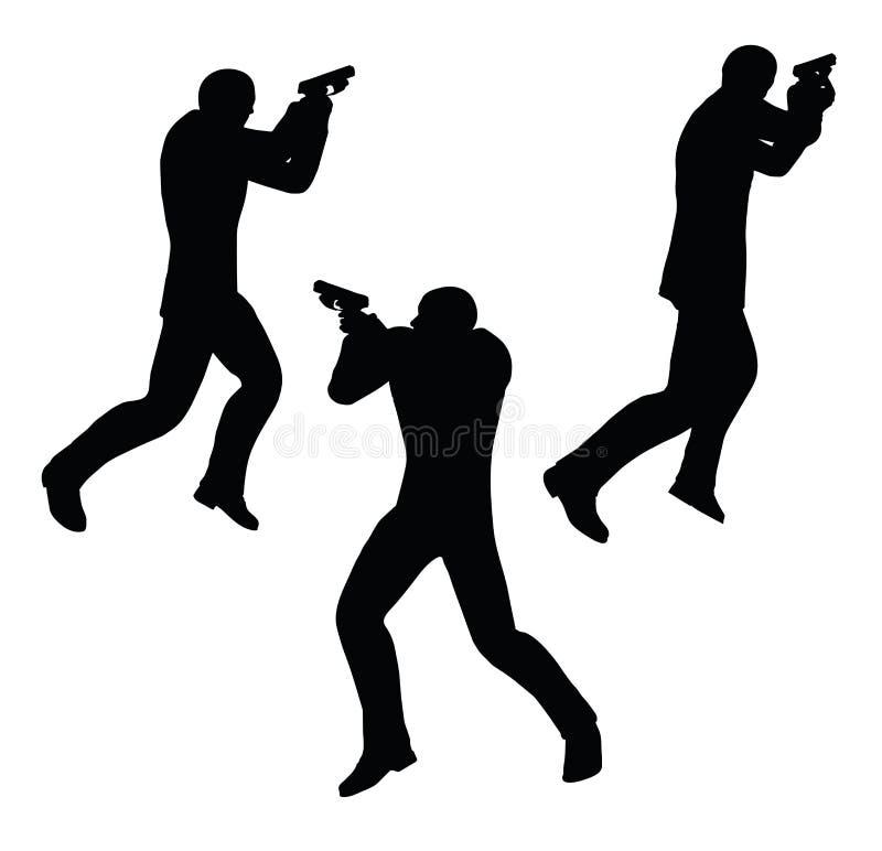 Ejemplo del vector del EPS 10 de la silueta del hombre de negocios del pistolero en negro ilustración del vector