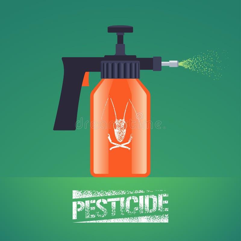Ejemplo del vector del equipo del espray del control de insectos del parásito stock de ilustración