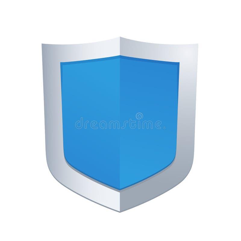 Ejemplo del vector del escudo brillante azul ilustración del vector