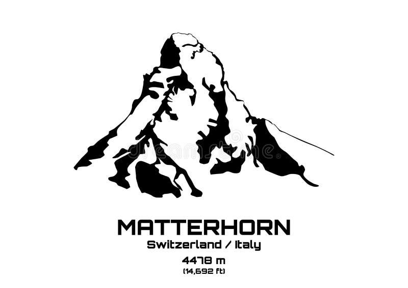 Ejemplo del vector del esquema del Mt matterhorn stock de ilustración