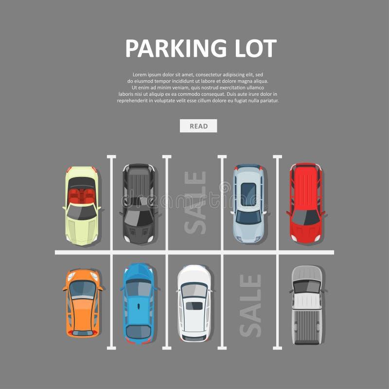 Ejemplo del vector del estacionamiento del coche de la ciudad en estilo plano stock de ilustración