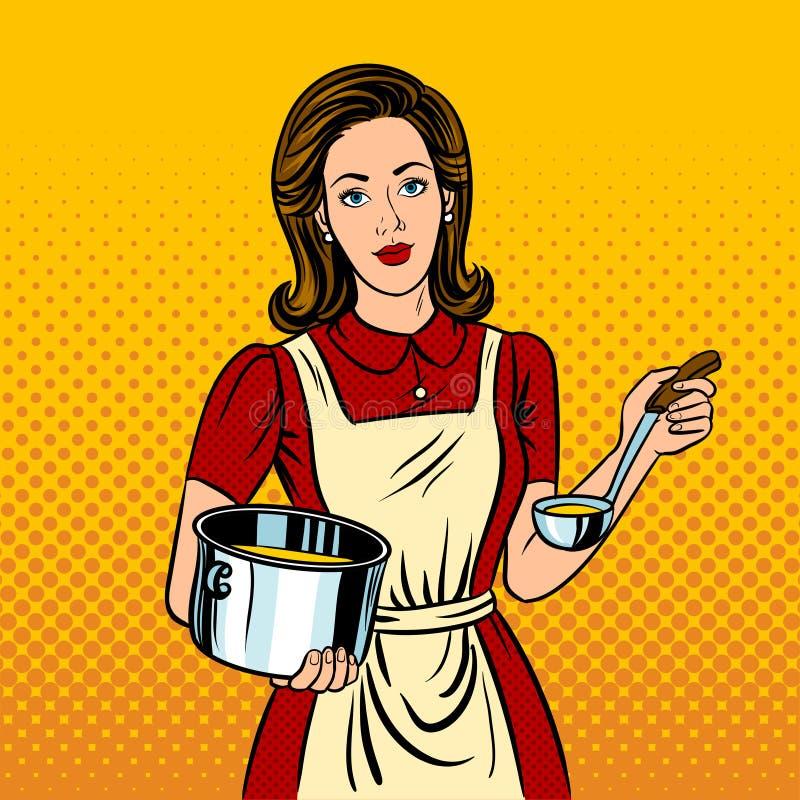 Ejemplo del vector del estilo del arte pop de la mujer del ama de casa ilustración del vector