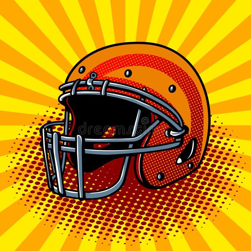 Ejemplo del vector del estilo del arte pop del casco de fútbol americano stock de ilustración