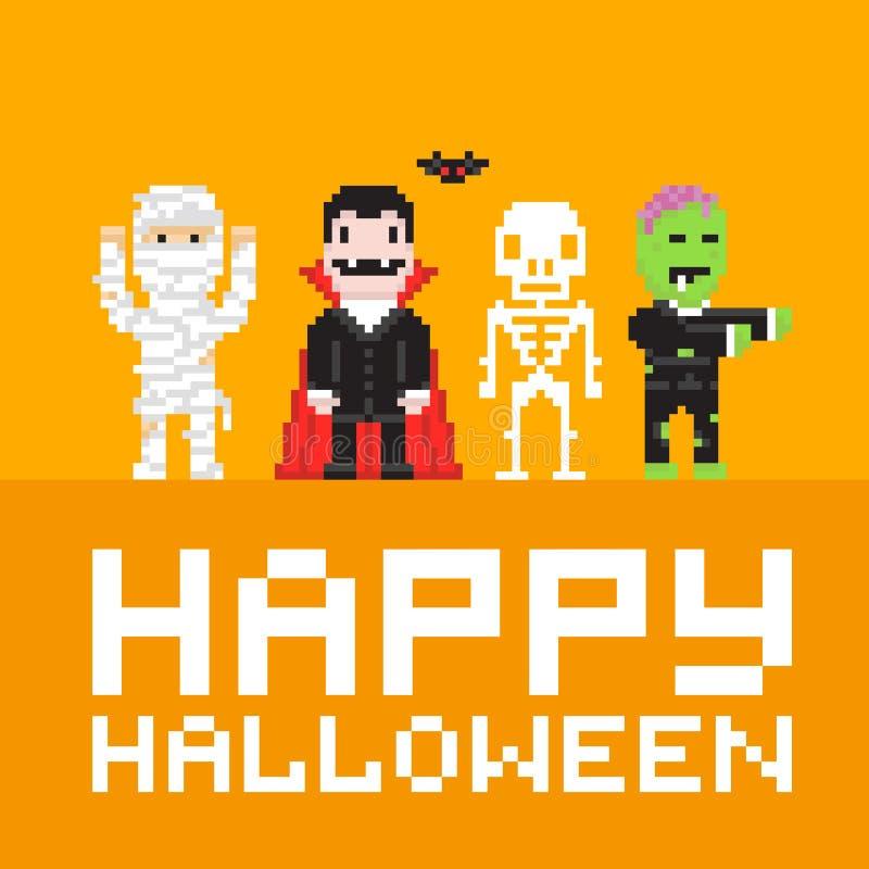 Ejemplo del vector del feliz Halloween del arte del pixel libre illustration