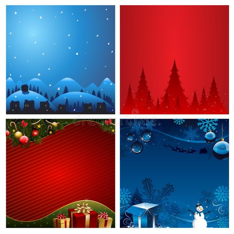 Ejemplo del vector del fondo de la Navidad cuatro ilustración del vector