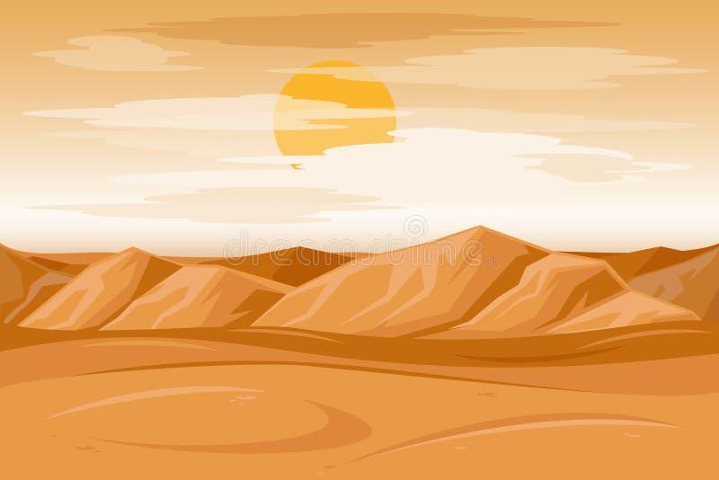 Ejemplo del vector del fondo de la piedra arenisca de las montañas del desierto stock de ilustración