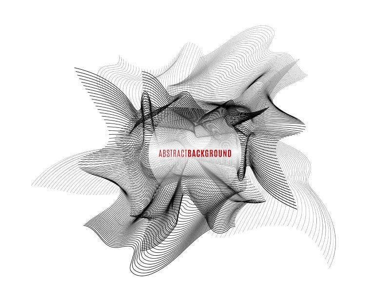 Ejemplo del vector del fondo del extracto de la superficie de la onda del monohrome ilustración del vector
