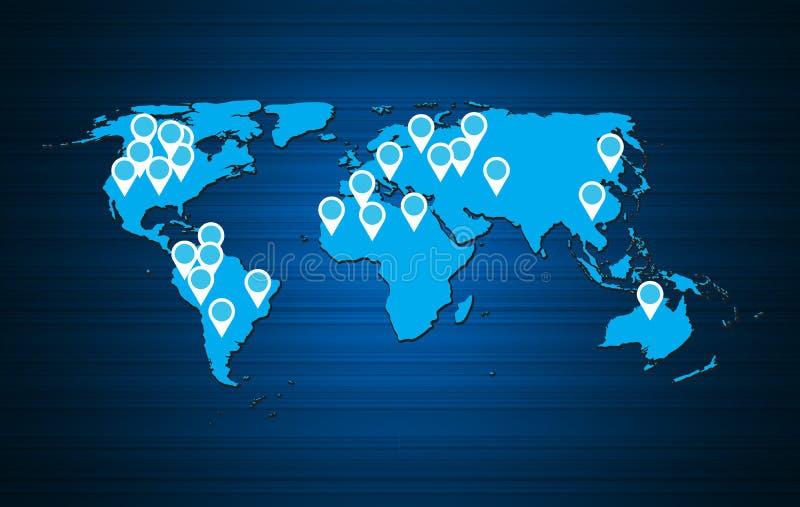 Ejemplo del vector del fondo del mapa del mundo ilustración del vector