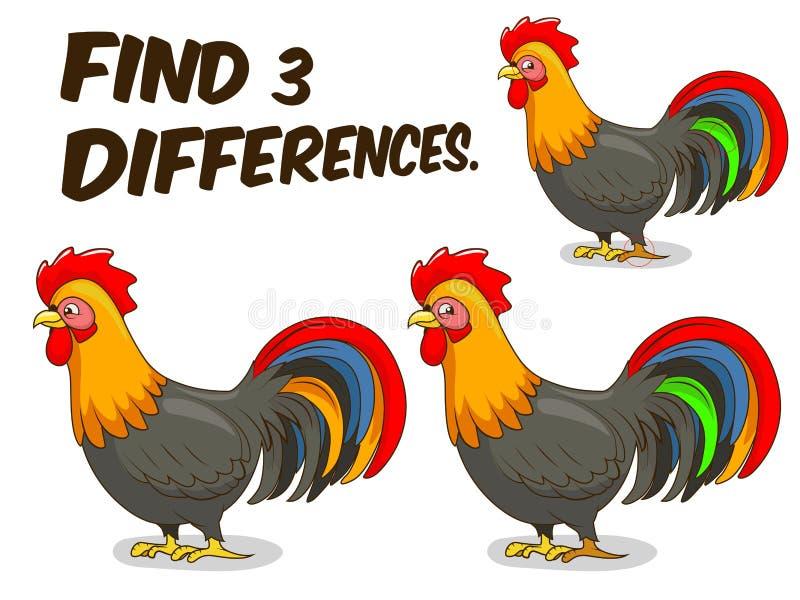 Ejemplo del vector del gallo del juego de las diferencias del hallazgo stock de ilustración
