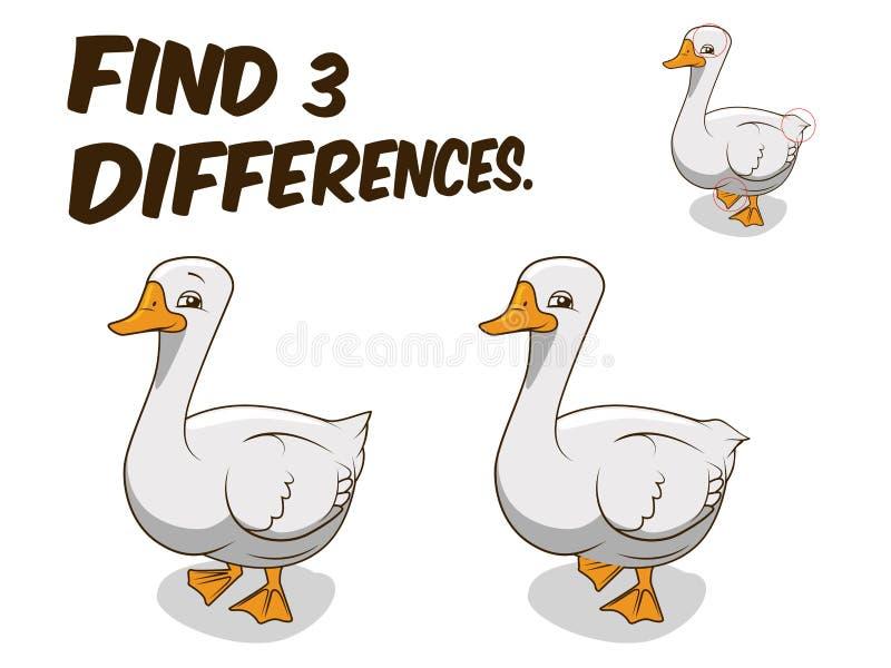 Ejemplo del vector del ganso del juego de las diferencias del hallazgo ilustración del vector
