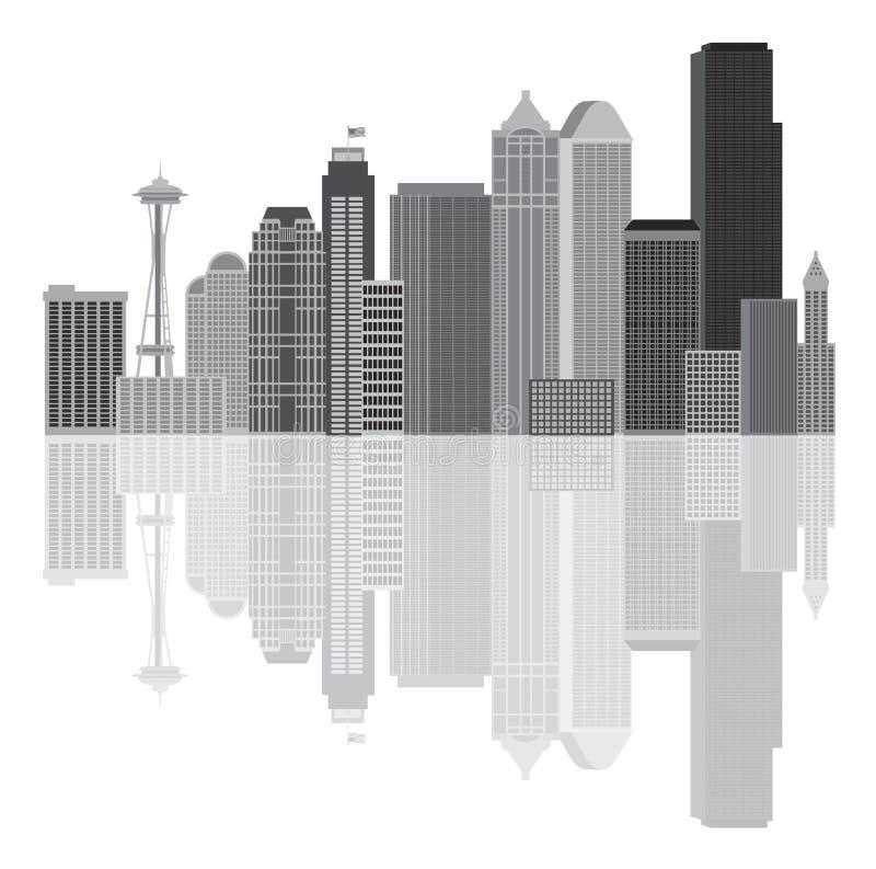 Ejemplo del vector del Grayscale del horizonte de la ciudad de Seattle ilustración del vector