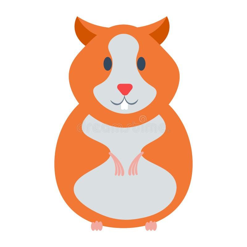 Ejemplo del vector del hámster Animal doméstico de la historieta del hámster en el fondo blanco Icono del vector de la historieta stock de ilustración