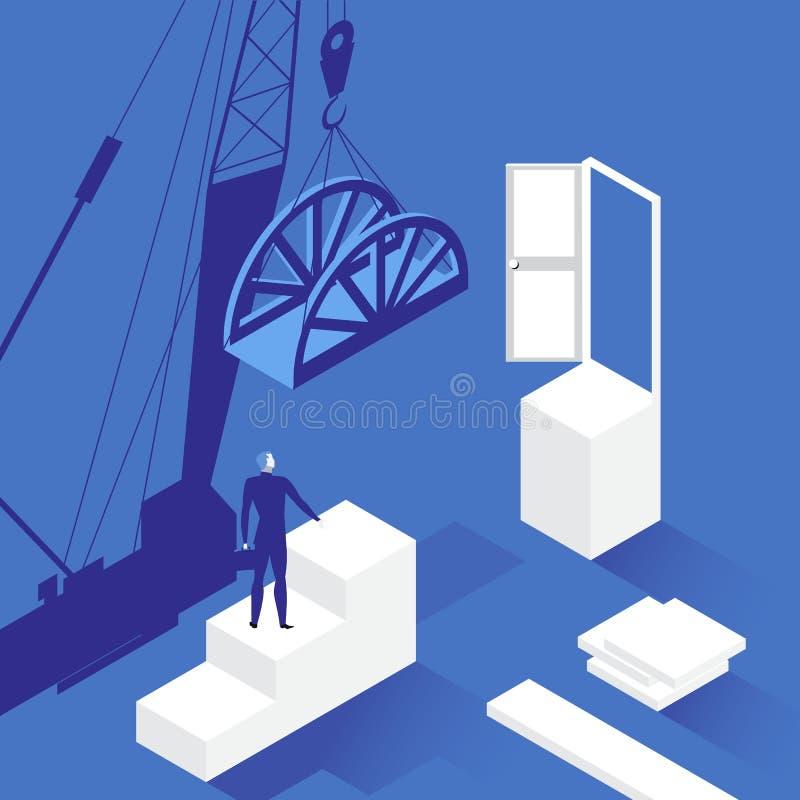 Ejemplo del vector del hombre de negocios delante de la puerta abierta libre illustration