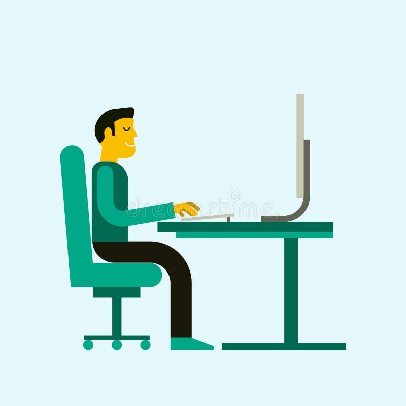 Ejemplo del vector del hombre de negocios que trabaja en libre illustration