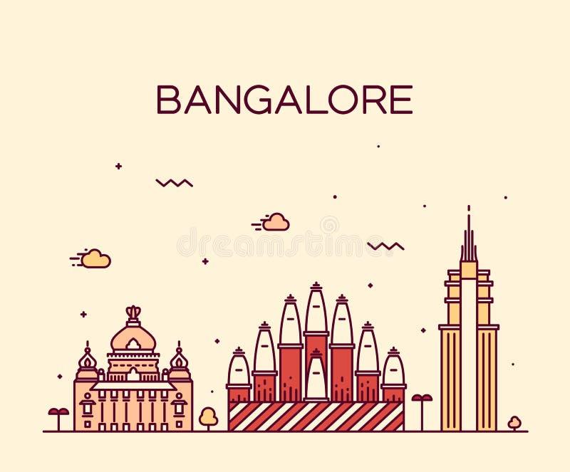 Ejemplo del vector del horizonte de Bangalore linear stock de ilustración
