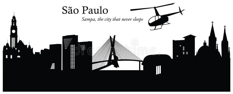 Ejemplo del vector del horizonte del paisaje urbano de São Pablo ilustración del vector