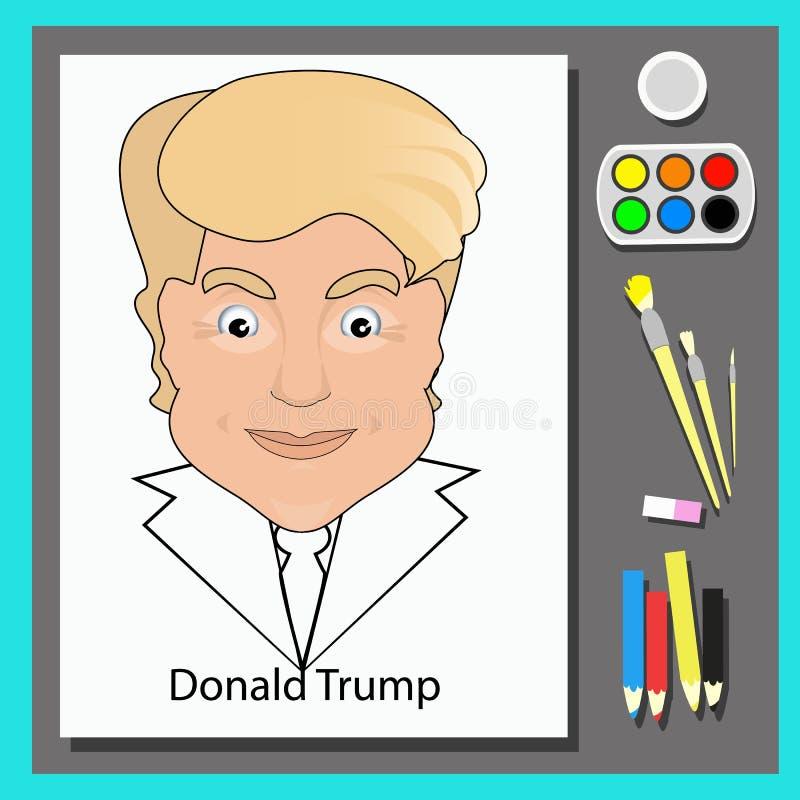 Ejemplo del vector del icono de Donald Trump una tabla con los lápices, las pinturas y los cepillos libre illustration