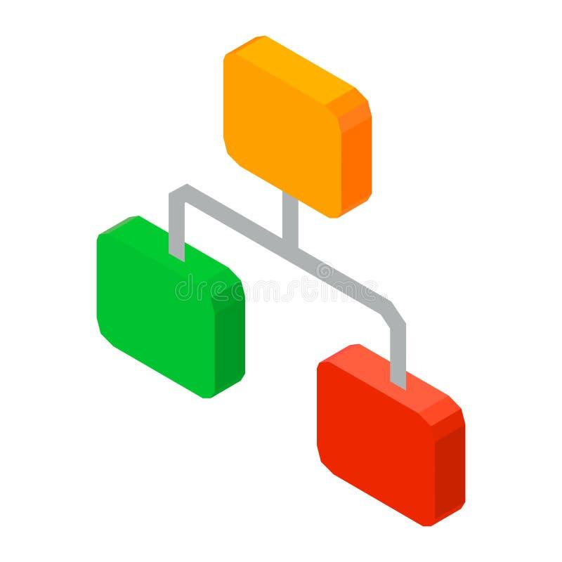 Ejemplo del vector del icono de la red 3D de la jerarquía aislado en blanco ilustración del vector