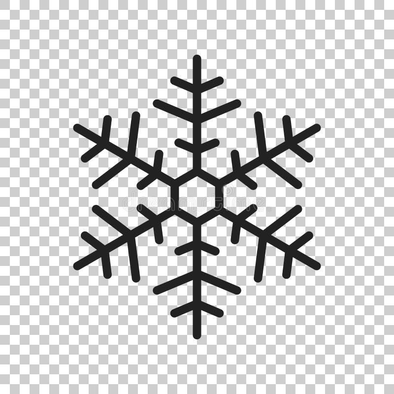 Ejemplo del vector del icono del copo de nieve en estilo plano aislado en la ISO libre illustration