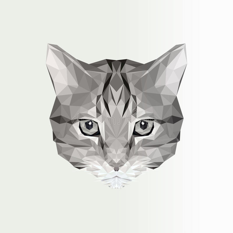 Ejemplo del vector del icono polivinílico bajo del gato Silueta poligonal geométrica del gato Ejemplo animal para el tatuaje, col stock de ilustración