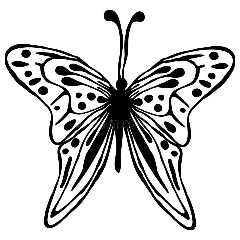 Ejemplo del vector del insecto Mariposa negra dibujada mano linda aislada en el fondo blanco stock de ilustración