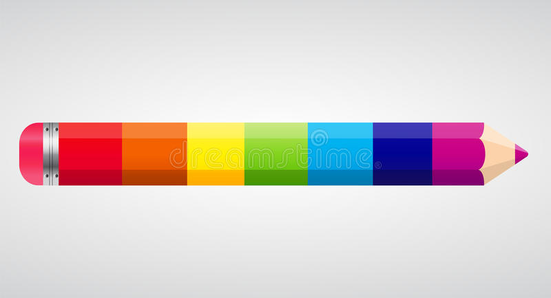 Ejemplo del vector del lápiz del arco iris ilustración del vector