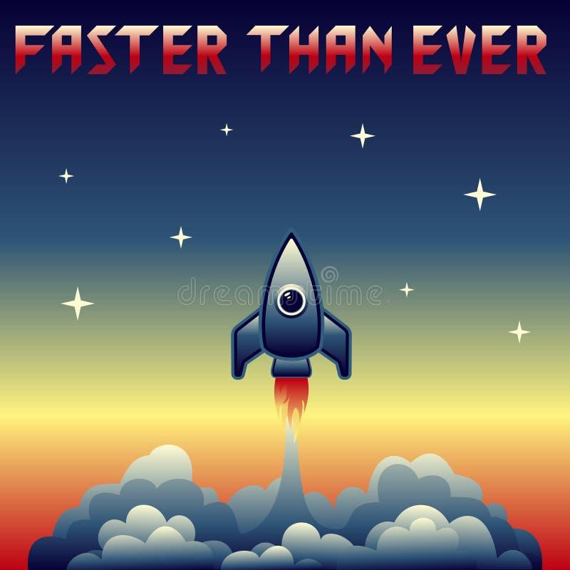 Ejemplo del vector del lanzamiento del cohete del vintage ilustración del vector