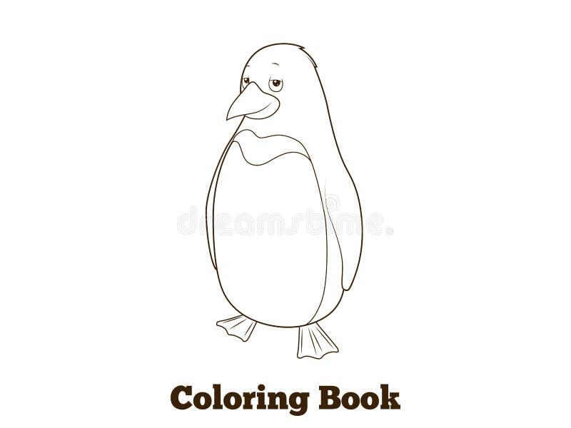 Ejemplo del vector del libro de colorear de la historieta del pingüino ilustración del vector