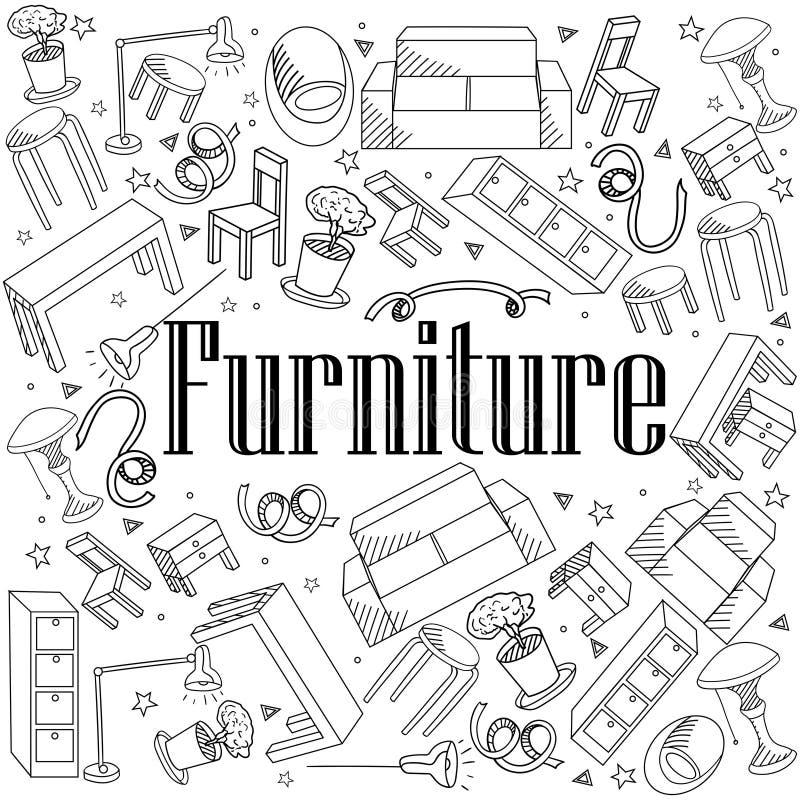Ejemplo del vector del libro de colorear de los muebles stock de ilustración