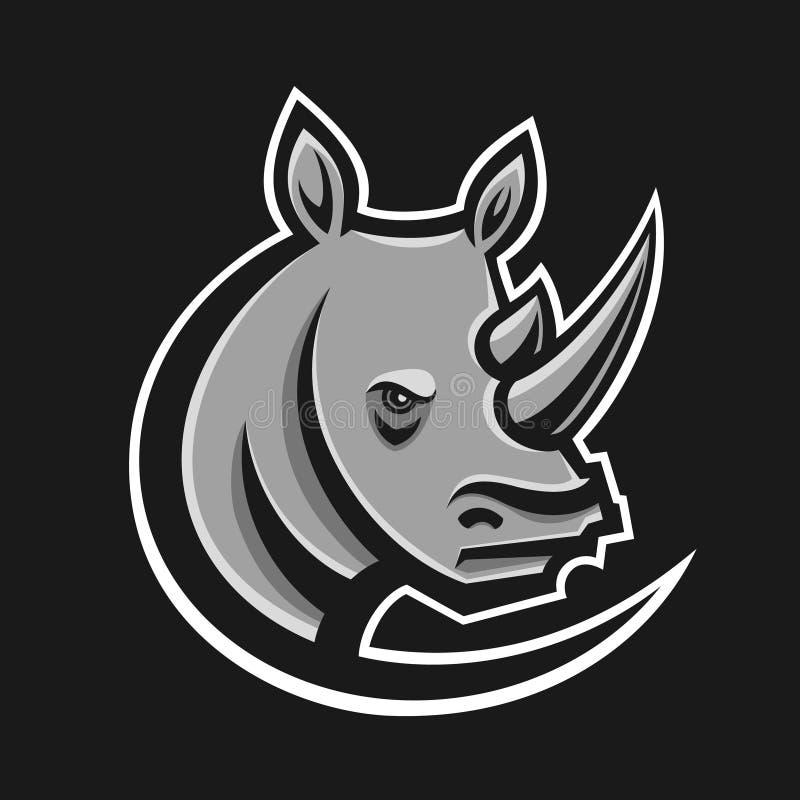 Ejemplo del vector del logotipo del deporte del rinoceronte Plantilla del logotipo para el equipo de la mascota Cabeza del rinoce ilustración del vector