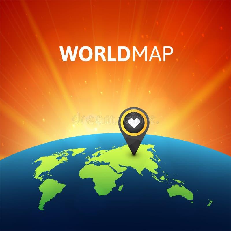 Ejemplo del vector del mapa del mundo, plantilla infographic del diseño libre illustration