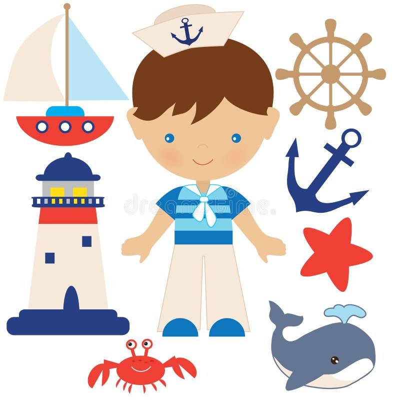 Ejemplo del vector del marinero del muchacho stock de ilustración