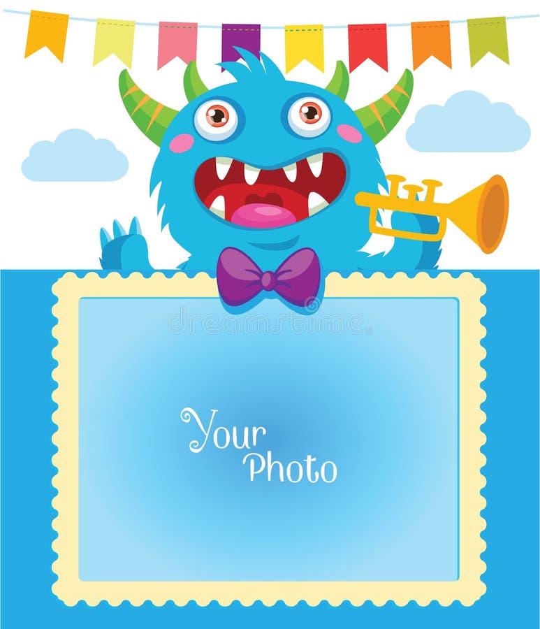Ejemplo del vector del monstruo de la historieta Tema del cumpleaños Plantilla decorativa de la historieta para la familia o las  libre illustration