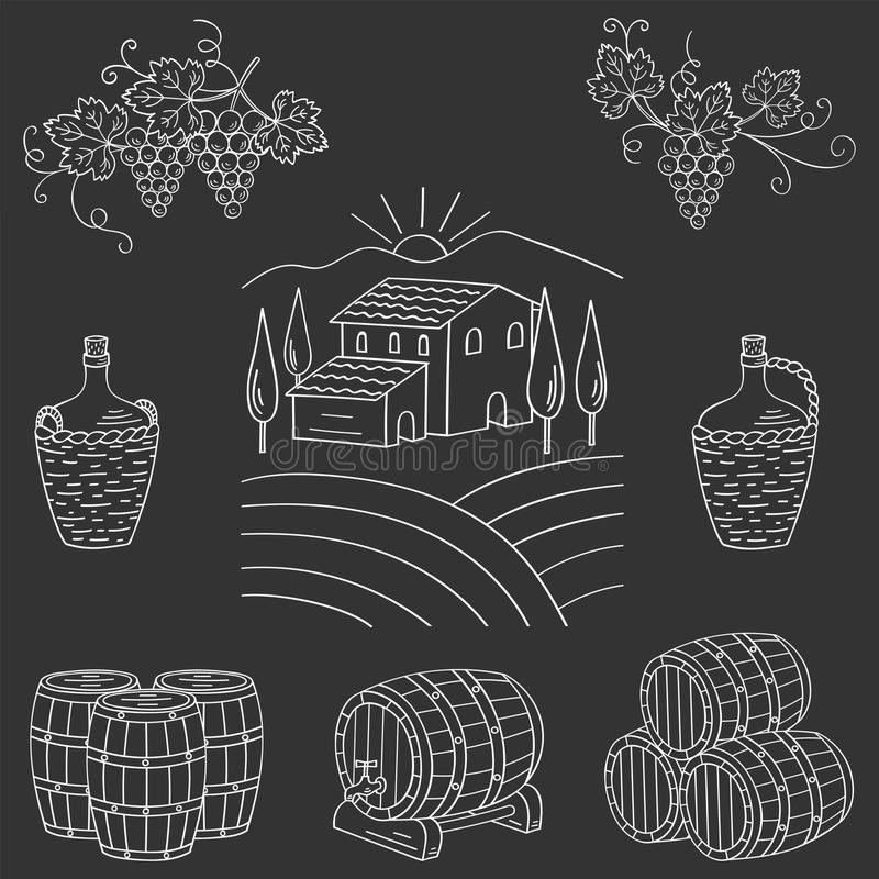 Ejemplo del vector del paisaje del pueblo de la granja del viñedo stock de ilustración