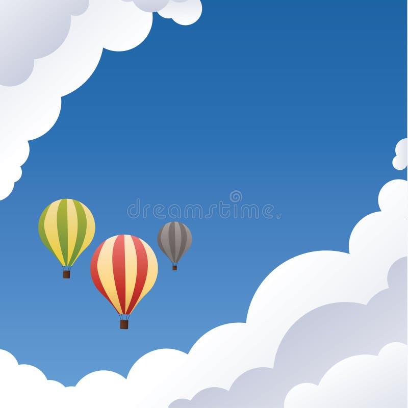Ejemplo del vector del paisaje. Limpie el cielo azul con los baloons. ilustración del vector