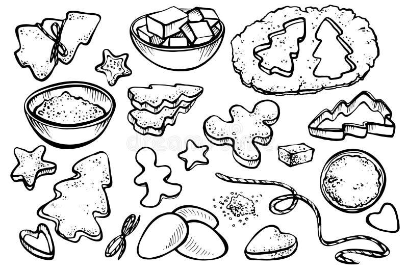 Ejemplo del vector del pan de jengibre de la hornada fotografía de archivo