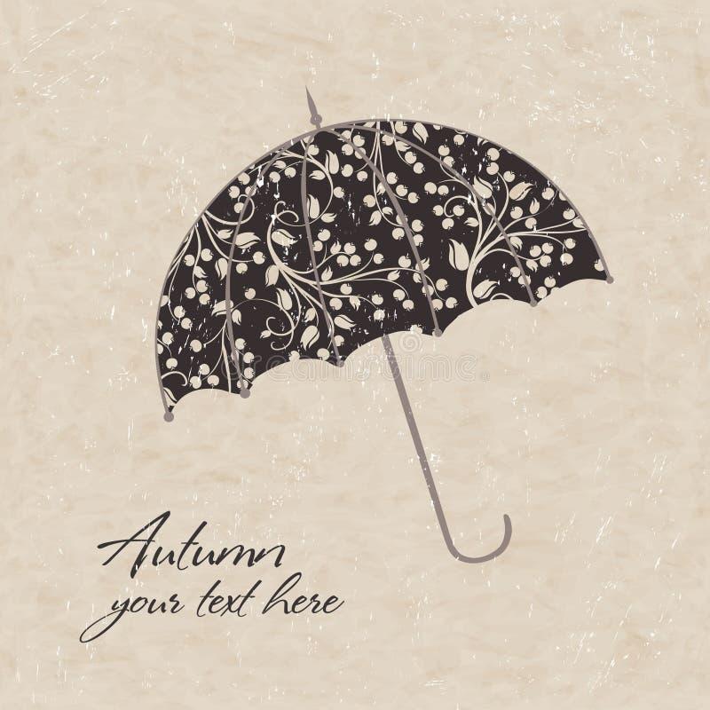 Ejemplo del vector del paraguas debajo stock de ilustración