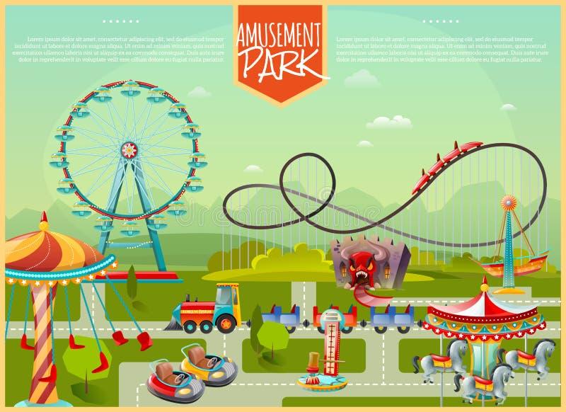 Ejemplo del vector del parque de atracciones stock de ilustración