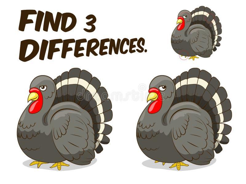 Ejemplo del vector del pavo del juego de las diferencias del hallazgo stock de ilustración