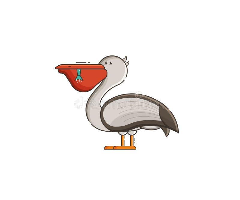 Ejemplo del vector del pelícano blanco stock de ilustración