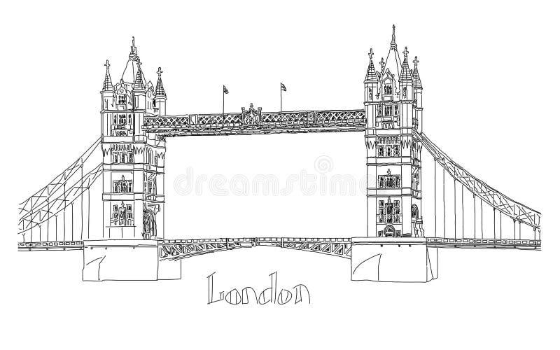 Ejemplo del vector del puente de la torre, Londres stock de ilustración